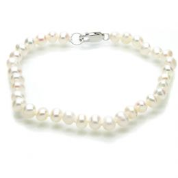 Pearl Bracelet - A 5mm Off Round Cultured Freshwater Pearls  - 7.5''